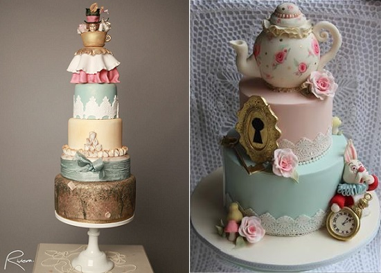 Alice-in-Wonderland-cakes-Mad-Hatter-tea-party-cakes-by-Riviera-Couture-Cake-Co-left-Cake-by-Kim-right